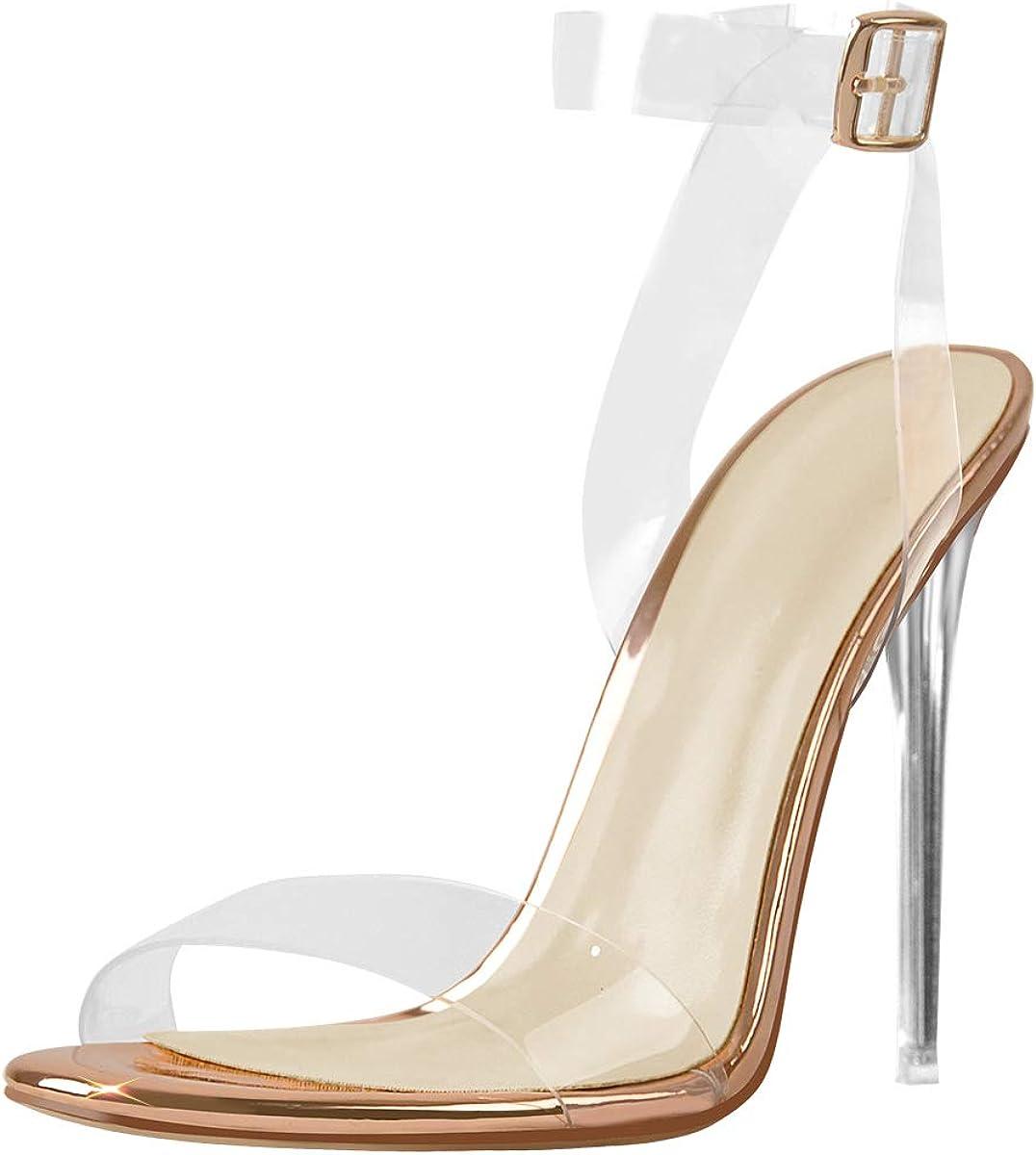 Richealnana Women's Clear PVC High Heels Ankle Buckle Heeled Sandals