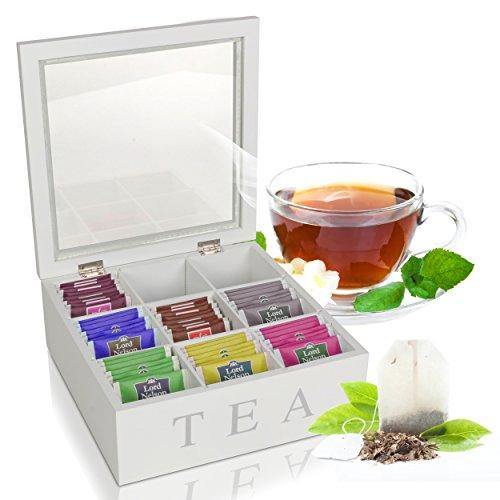 Oramics Teebox mit 6 oder 9 Fächern in Weiß oder Schwarz im edlen Holzdesign Teekiste Tee Aufbewahrung inklusive E-Book (Weiß, 9 Fächer)