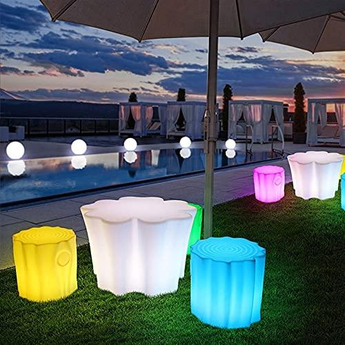 WHHK Mesa Y Silla Luminosas LED Lámpara De Decoración De Jardín Zona De Juegos Mesa De Centro Y Silla Al Aire Libre Carga USB Luz De Taburete De Tocón (Color : Just Stump Stool)