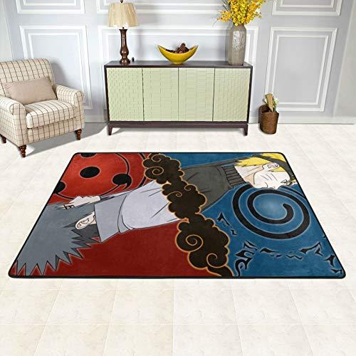 dgdgdg Naruto Uchiha Sasuke Alfombra adecuada para sala de estar, dormitorio, zona infantil, suave y cómoda, decoración de casa de arte, 182,88 x 122,92 cm