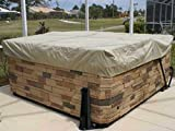 Covermates Square Hot Tub Cover - Weather Resistant Polyester, Weather Resistant, Elastic Hem, Outdoor Living Covers-Khaki