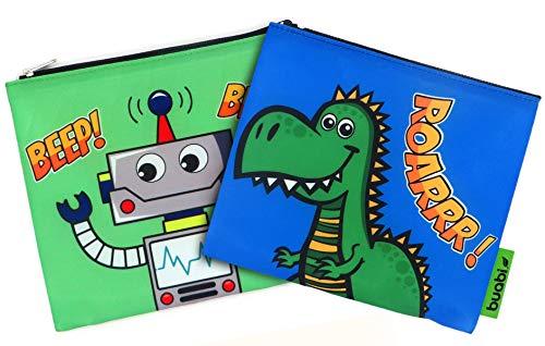 Bolsa merienda Infantil - Porta Bocadillos y Sandwich - Envoltorio Térmico de Tela, ecológico, Reutilizable, sin BPA (Dinosaurio y Robot)