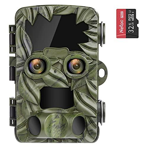 COOLIFE Caméra de Chasse Deux Caméras 4K 20MP Camera de Chasse Nocturne 25m Vitesse de Déclenchement 0.1s Technologie de Gradation IR Automatique Caméra Chasse Infrarouge Prise en Charge Maximale 512G