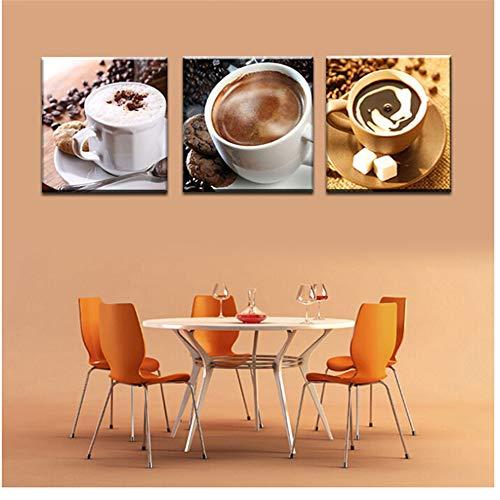 Canvas afbeelding 3 panelen eten en kopje koffie thee moderne canvas print schilderijen muurkunst schilderij schilderij voor keuken kamerdecoratie kunstwerk -60x60cm geen lijst