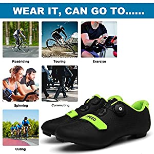 NAICUTE Cycling Shoes for Men Indoor Bike Shoes Road Bike Shoes Mountain Bike Shoes Comfortable Shoes Rider Riding Sneaker(H40) Black