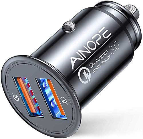AINOPE Caricatore automatico, [doppia porta QC3.0] 36W/6A [tutto metallo] Caricabatteria da auto Mini Caricabatteria auto Quick Charge Compatibile con iPhone 12/11/XS/XR, Note 9/Galaxy S10/S9/S8, iPad
