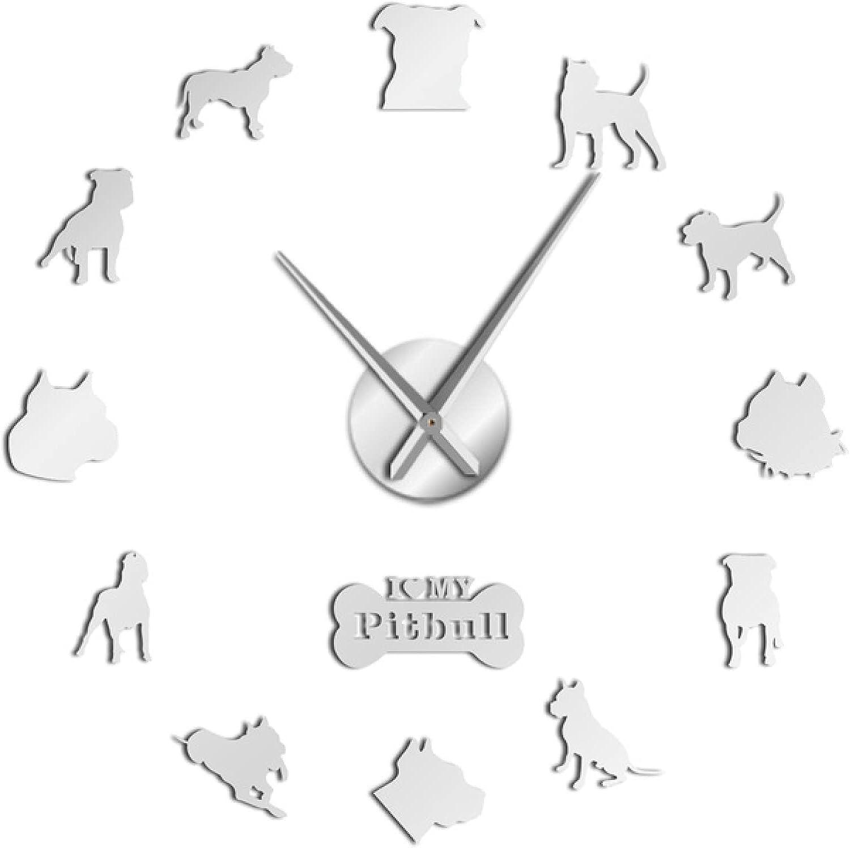 Xinxin Wall Clock At the price Pitbull Laser Cut 3D Dog DIY Save money P Mute