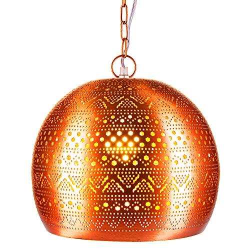 Orientalische Lampe Pendelleuchte Herera 30cm Kupfer E27 Lampenfassung | Marokkanische Design Hängeleuchte Leuchte | Orient Lampen für Wohnzimmer, Küche oder Hängend über den Esstisch