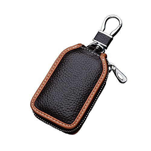 Car Key Case - Superior Genuine Leather Auto Key FOB Holder Smart KeyChain Protector Cover with Metal Hook and Zipper (Brown)