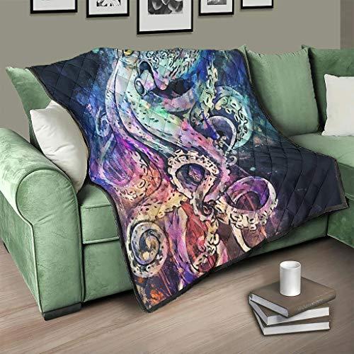 Flowerhome Colcha oceánica con diseño de pulpo, colcha para cama, sofá, manta de invierno, para sofá, cama, color blanco, 180 x 200 cm