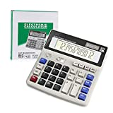 Calculator, Calculators Large Display and Buttons, Solar Battery Dual Power, Big Button 12 Digit Large LCD Display