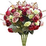 Schliersee Artificial Flowers Fake Silk Vintage Rose Flowers Bouquet 4pcs Kitchen Garden Wedding Floral Decor