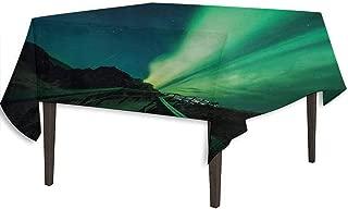 kangkaishi Aurora Borealis Washable Tablecloth Wooden Bridge Solar Sky Scenic Radiant Rays Arctic Magic Scenery Desktop Protection pad W70 x L70 Inch Fern Green Dark Blue