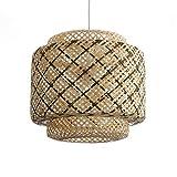 Lusiel Halong 40 - Lámpara de techo de bambú natural y verde, ideal para salón, dormitorio normal