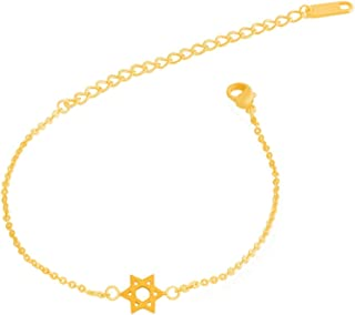 Women Body Jewelry Leg Chain Stainless Steel Pendants Statement Star of David Anklets Bracelets for Baby Kids