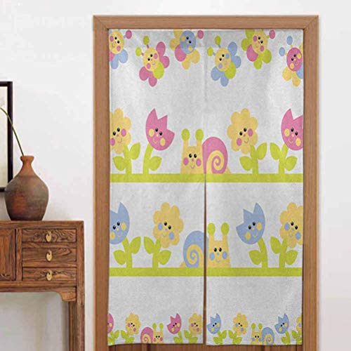 ScottDecor Kids Door Curtains Blackout Panels for a Clean Crisp Look Cartoon Character Bees Tulip and Daisy Flowers Snails Garden PatternBaby Blue Pale Green Yellow17 W x 56' L| 2 Panels
