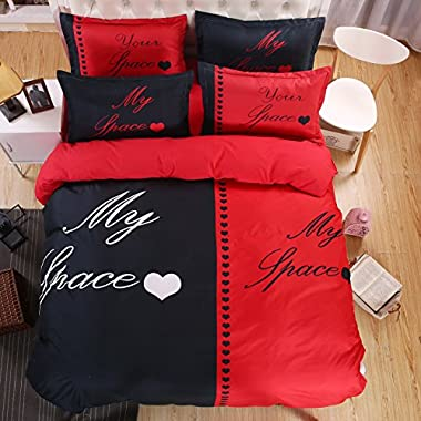 KTLRR Couple Queen/King Size Duvet Cover Sets(no comforter) -Red and Black Polyester Bedding Set (King, Pattern#01)