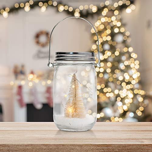 TRIXES Árbol de Navidad con LED colgante decorativo en tarro de cristal con nieve artificial amarillo