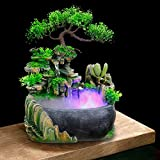 TFCFL Desktop Fountain Waterfall with Rockery & LED Colorful Lights Indoor Relaxation Resin Ornament for Office, Home, Bedroom Desk Decoration US Plug 110V