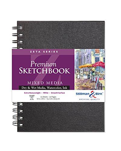 Stillman & Birn Zeta Series Wirebound Sketchbook, 6' x 8', 270 gsm (Extra Heavyweight), White Paper, Smooth Surface