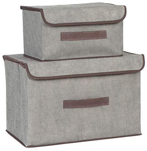 EACHPT cajas de almacenamiento plegables, 2pcs caja de organizador de almacenamiento de...
