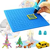 3D Printing Pen Mat, Silicon Made with Extra Gift 2 Silicone Finger Protectors,Great Drawing Tools for 3D Pen Template and 3Doodler,Presents for Children