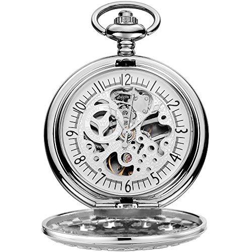 WFDA Reloj de Bolsillo con la Cadena como Cuerda Manual Regalo del día de Concha Hueca de un Padre de Navidad Reloj de Bolsillo mecánico y Cadena (Color : Silver Shell White Surface)
