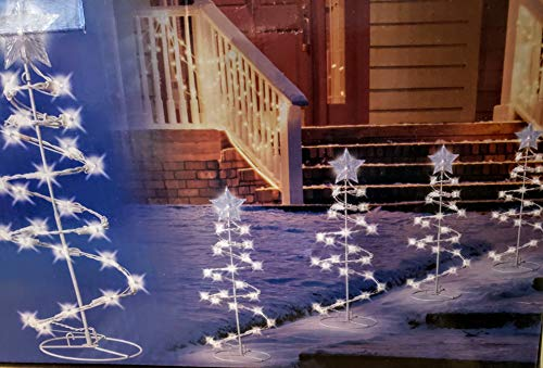 Set of 4 Spiral Lighted Christmas Tree s 20 Lights Each 18 inches Tall Each - Plug in
