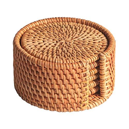 MEETOZ 6 posavasos de ratán, paquete de manteles individuales, manteles individuales de mimbre, soporte duradero para ollas, sartenes y teteras, de madera natural resistente al calor para la cocina