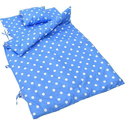 『お昼寝布団 7点セット ドット柄 ブルー』の1枚目の画像