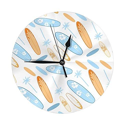 Reloj de pared redondo, tabla de surf de color, reloj colgante de escritorio, reloj decorativo para casa, escuela, oficina