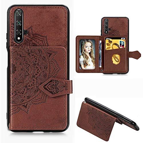 HAOYE Hülle für Huawei Nova 5T Hülle Brieftasche, Ziemlich Retro PU Leder Geprägt Mandala Muster Design Flip Handyhülle, Huawei Nova 5T Stoßfest Schutzhülle, Braun