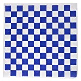 Dry Waxed Deli Paper Sheets - Paper Liners for Plasic Food Basket (100 Pack Blue Checkered)