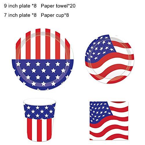 Brownrolly Partyaccessoire met Amerikaanse vlag, wegwerpborden, 44 stuks, tablets, bekers en servetten van papier voor American Party
