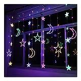 QIYE Starlight Moon - Guirnalda de luces LED para decoración de Navidad para interiores y exteriores, funciona con pilas (color