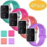 Misker Sport Band Compatible with for Apple Watch Band 38mm 40mm 42mm 44mm, Soft Silicone Sport Strap Compatible with iWatch Series 5 4 3 2 1 (Teal/Purple/Barbie Pink/Coral, 38mm/40mm M/L)