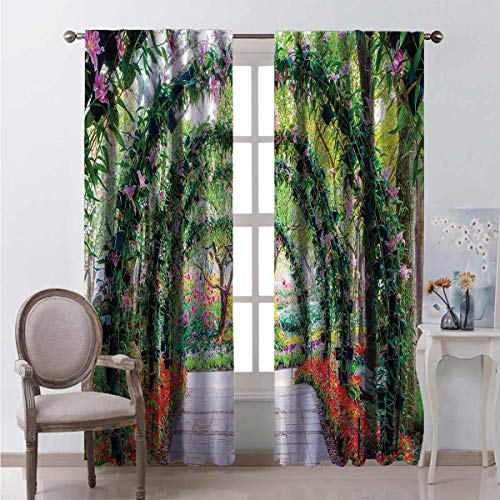 Toopeek Heat insulation curtain Flower Arches Plants For living room or bedroom W100 x L84 Inch