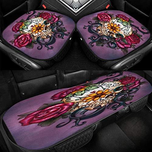 Yuniker Sugar Skull Flowers Car Ice Cushion Universal Car Seat Protector Soft Cool Bottom Seat Covers 3 Pcs Non-Slip Cushion Mats for Car Truck SUV Van Mpv