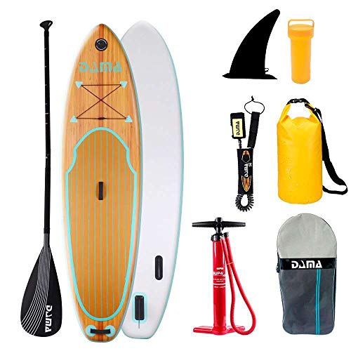"multi purpose inflatable stand up paddle boards Inflatable surfboard DAMA 9'6 ″ 30 ""6 ″, sup paddle board, drop stitch and PVC, travel board, fins, hand pump, leash, repair kit, for adult surfing or cushioning, wood color 5"