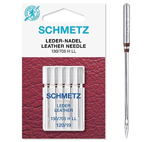 SCHMETZ Agujas para máquina de coser, 5 agujas de cuero LL | 130/705 H LL | Grosor de aguja 120/19 | Utilizables en todas las máquinas de coser domésticas habituales | Adecuado para coser cuero