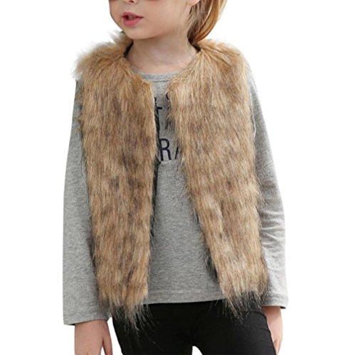 Hirolan Niedlich Mädchen Faux Pelz Weste Mode Ärmellos Jacke Kleider Herbst Winter Dick Mantel Warm Outwear Weich Plüsch Steppweste Kinderweste übergangsjacke (140cm, Gelb)