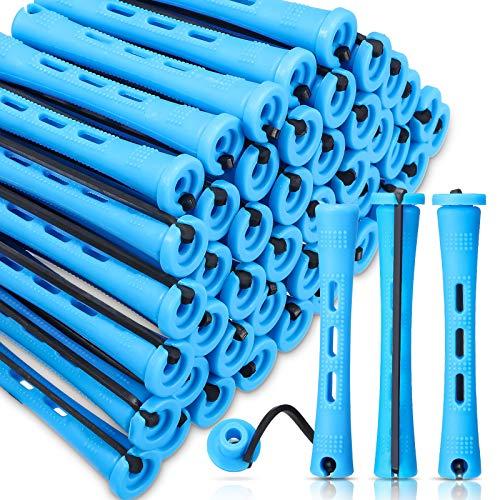 60 Barras de Permanente de Pelo Rodillos de Pelo Antideslizantes Barras de Onda Fría de Plástico Varillas Rulos Cortos con Banda de Goma Elástica Herramienta de Peinado (0,35 Pulgada, Azul)