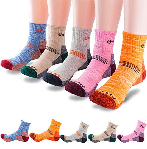 5Pack of Women's Multi Performance Mid Cushion Outdoor Hiking Ankle Socks |Athletic, Running| Moisture Wicking | Year Round (Medium (Shoe size 8-10 US), 5pack-Orange/Grey/Beige/Blue/Pink)