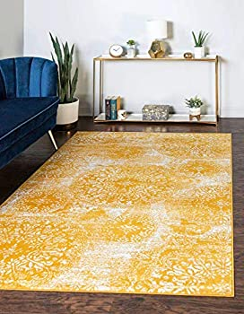Unique Loom Sofia Collection Traditional Vintage Area Rug 5  x 8  Yellow/Ivory