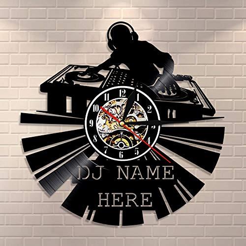CDNY DJ Vinyl Plattenuhr benutzerdefinierte Moderne Wanduhr personalisierte DJ Uhr Name DJ Wandkunst Retro Uhr Musikliebhaber Geschenk Mit Licht,Sieben Farben,12 inches