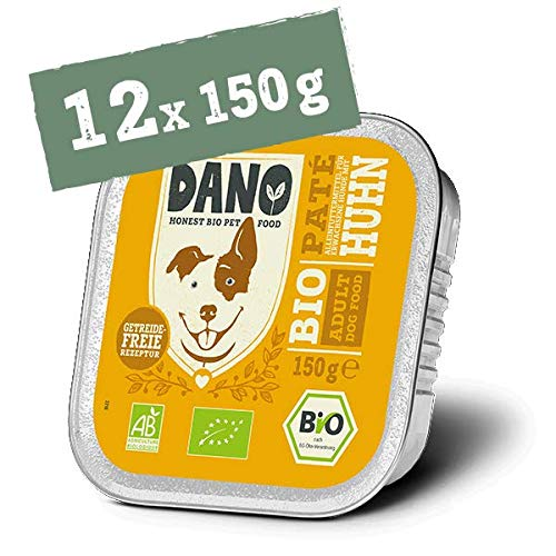 DANO Bio Pastete für Hunde mit Huhn - 12 x 150 gr - für Hunde Aller Rassen und Altersgruppen - Getreidefrei - Frei von Künstlichen Zusatzstoffen - mit Bio Truthahn und Algen