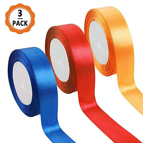 3pcs Cinta Regalo Colores Cintas Navidad, 22m x 2.5cm Cintas de Colores Tela Cinta de Regalo Ancha de Poliéster para Embalaje Decoración del Hogar de Regalo Cajas Flores Boda (naranja, azul, rojo)