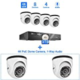 Hiseeu 4K PoE Dome Security Camera System with 3TB Hard Drive, 6Pcs Dome Cameras