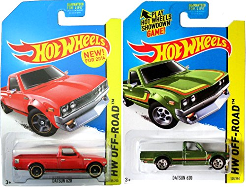 Datsun 620 Apartment Delivery Pickup Truck Hot Wheels Set 2015 #125 & 2014 #139 HW Off-Road Hot Trucks in PROTECTIVE CASES