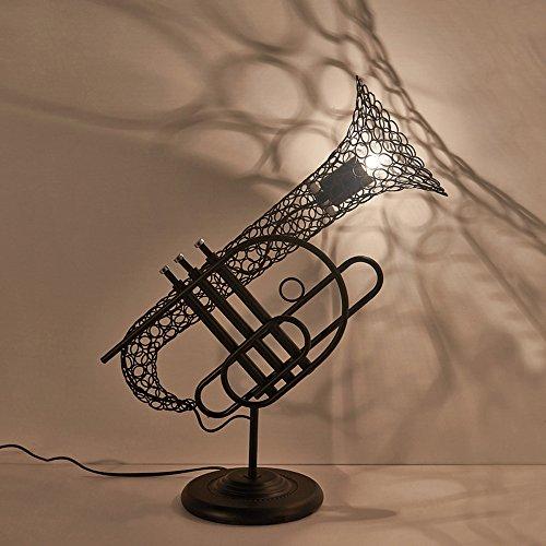 Pointhx Vintage Creative Iron Sachs Lámpara de Mesa Metal Excellence Instrumentos Musicales Lámpara de Escritorio de Diseño E27 1-Light Luz de Mesa para Pub Restaurante Clubhouse